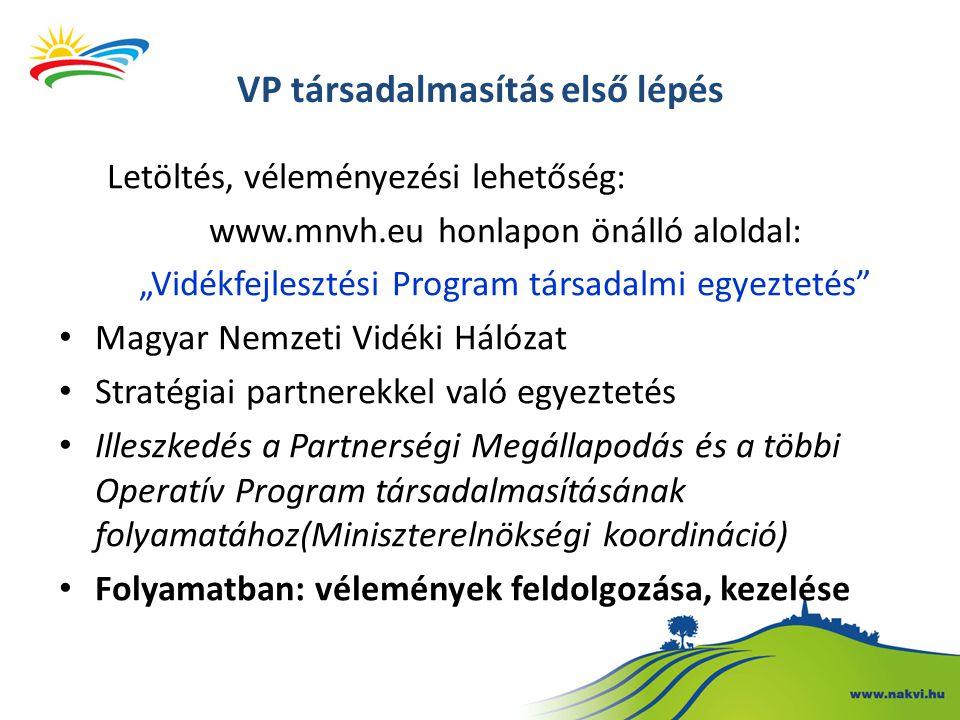 """VP társadalmasítás első lépés Letöltés, véleményezési lehetőség: www.mnvh.eu honlapon önálló aloldal: """"Vidékfejlesztési Program társadalmi egyeztetés Magyar Nemzeti Vidéki Hálózat Stratégiai partnerekkel való egyeztetés Illeszkedés a Partnerségi Megállapodás és a többi Operatív Program társadalmasításának folyamatához(Miniszterelnökségi koordináció) Folyamatban: vélemények feldolgozása, kezelése"""