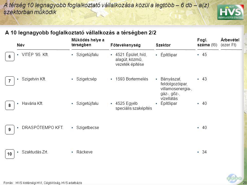 20 Forrás:HVS kistérségi HVI, Cégbíróság, HVS adatbázis A 10 legnagyobb foglalkoztató vállalkozás a térségben 2/2 Szektor Fogl. száma (fő) Árbevétel (