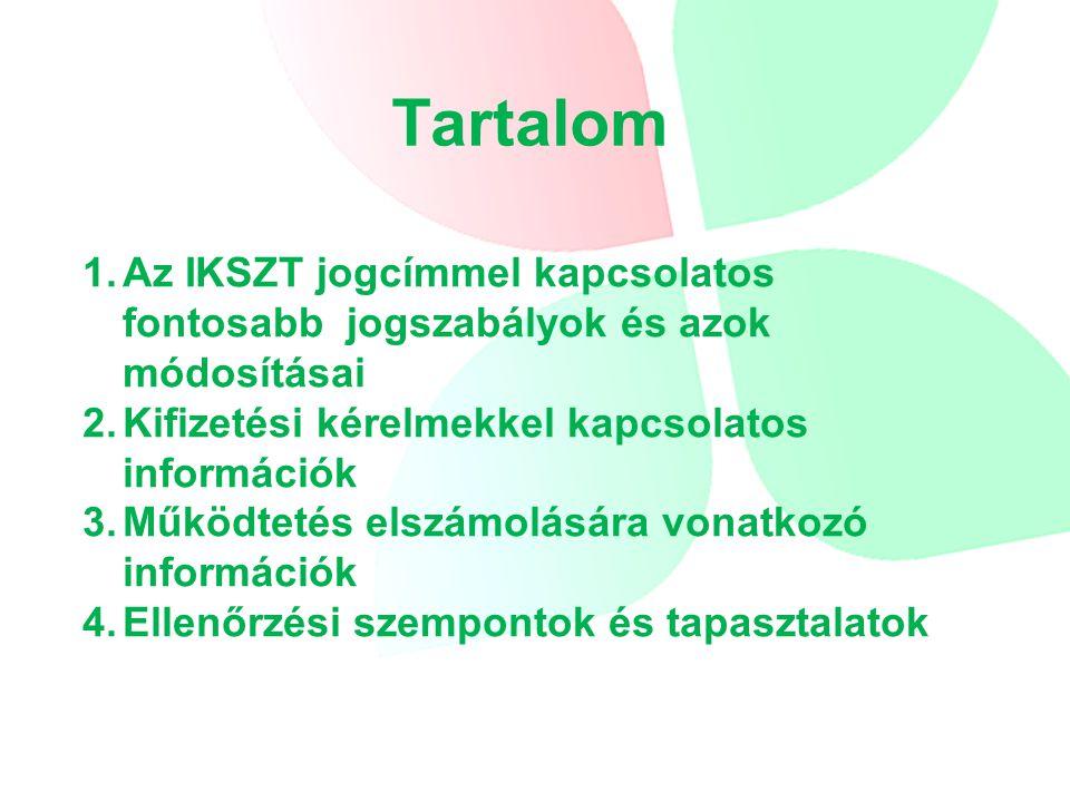 Az IKSZT jogcímmel kapcsolatos fontosabb jogszabályok 23/2007.(IV.17.) FVM rendelet –Utolsó módosítás: 2013.02.06.