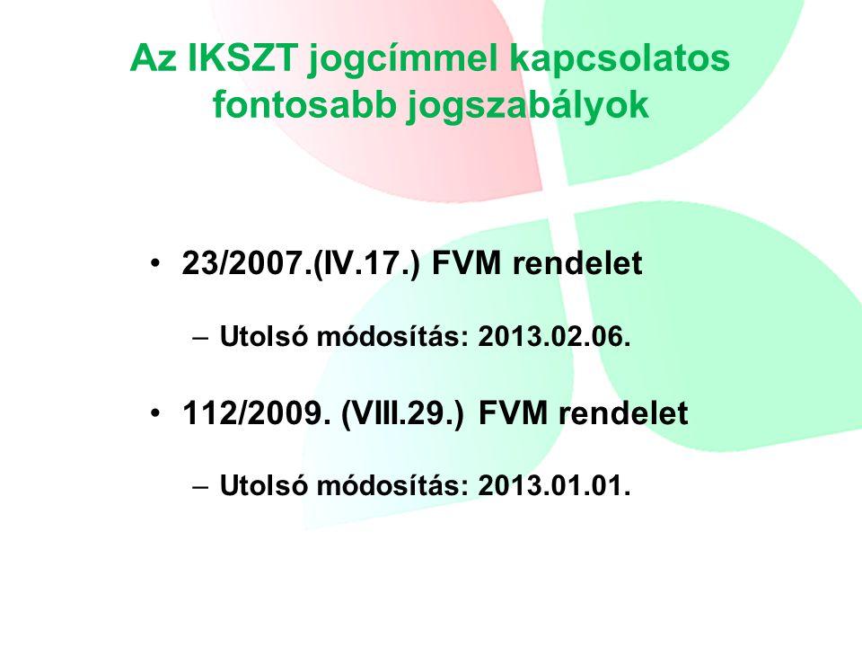 A 23/2007 FVM rendelet módosításai I.