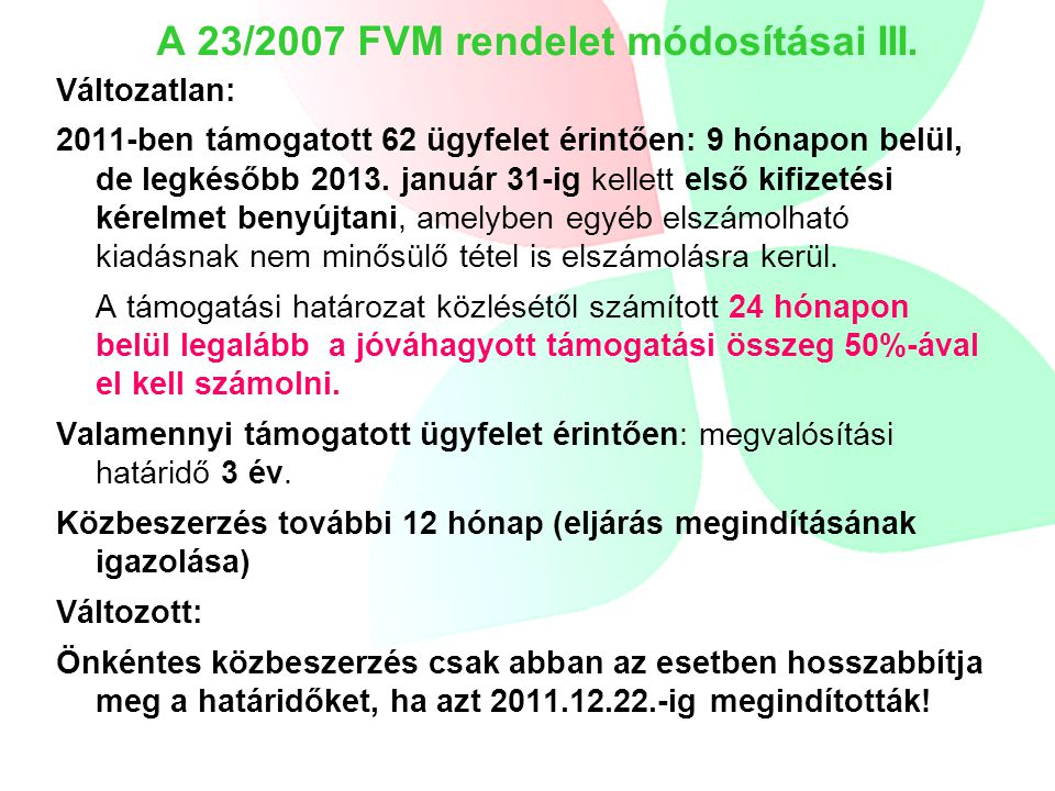 A 23/2007 FVM rendelet módosításai III.