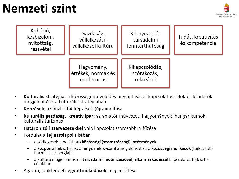 Nemzeti szint Kulturális stratégia: a közösségi művelődés megújításával kapcsolatos célok és feladatok megjelenítése a kulturális stratégiában Képzések: az önálló BA képzések (újra)indítása Kulturális gazdaság, kreatív ipar: az amatőr művészet, hagyományok, hungarikumok, kulturális turizmus Határon túli szervezetekkel való kapcsolat szorosabbra fűzése Fordulat a fejlesztéspolitikában – elsődlegesek a belátható közösségi (szomszédsági) intézmények – a központi fejlesztések, a helyi, mikro-szintű megoldások és a közösségi munkások (fejlesztők) hármasa, szinergiája – a kultúra megjelenítése a társadalmi mobilizációval, alkalmazkodással kapcsolatos fejlesztési célokban Ágazati, szakterületi együttműködések megerősítése Kohézió, közbizalom, nyitottság, részvétel Gazdaság, vállalkozási- vállalkozói kultúra Környezeti és társadalmi fenntarthatóság Tudás, kreativitás és kompetencia Hagyomány, értékek, normák és modernitás Kikapcsolódás, szórakozás, rekreáció