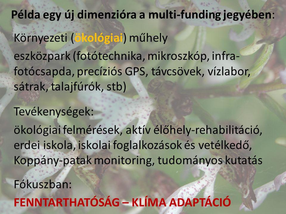 Példa egy új dimenzióra a multi-funding jegyében: Környezeti (ökológiai) műhely eszközpark (fotótechnika, mikroszkóp, infra- fotócsapda, precíziós GPS, távcsövek, vízlabor, sátrak, talajfúrók, stb) Tevékenységek: ökológiai felmérések, aktív élőhely-rehabilitáció, erdei iskola, iskolai foglalkozások és vetélkedő, Koppány-patak monitoring, tudományos kutatás Fókuszban: FENNTARTHATÓSÁG – KLÍMA ADAPTÁCIÓ