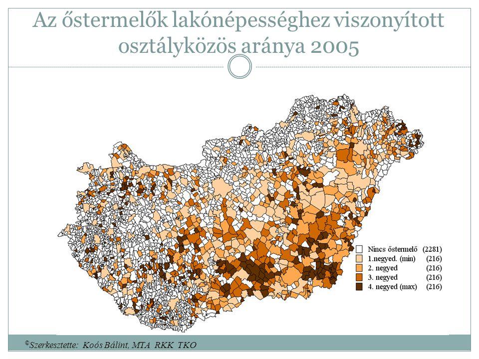 Az őstermelők lakónépességhez viszonyított osztályközös aránya 2005 © Szerkesztette: Koós Bálint, MTA RKK TKO