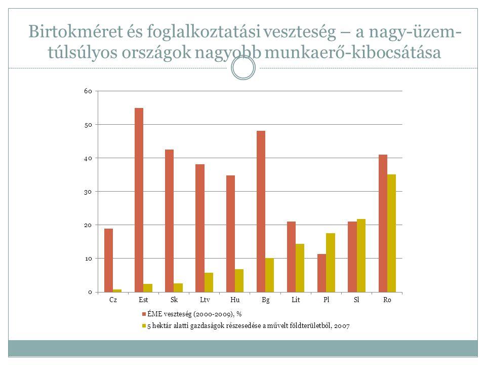 Birtokméret és foglalkoztatási veszteség – a nagy-üzem- túlsúlyos országok nagyobb munkaerő-kibocsátása