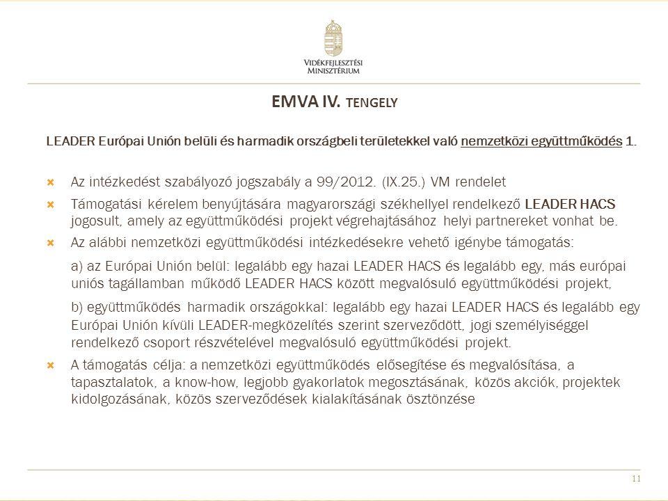 12 LEADER Európai Unión belüli és harmadik országbeli területekkel való nemzetközi együttműködés 2.
