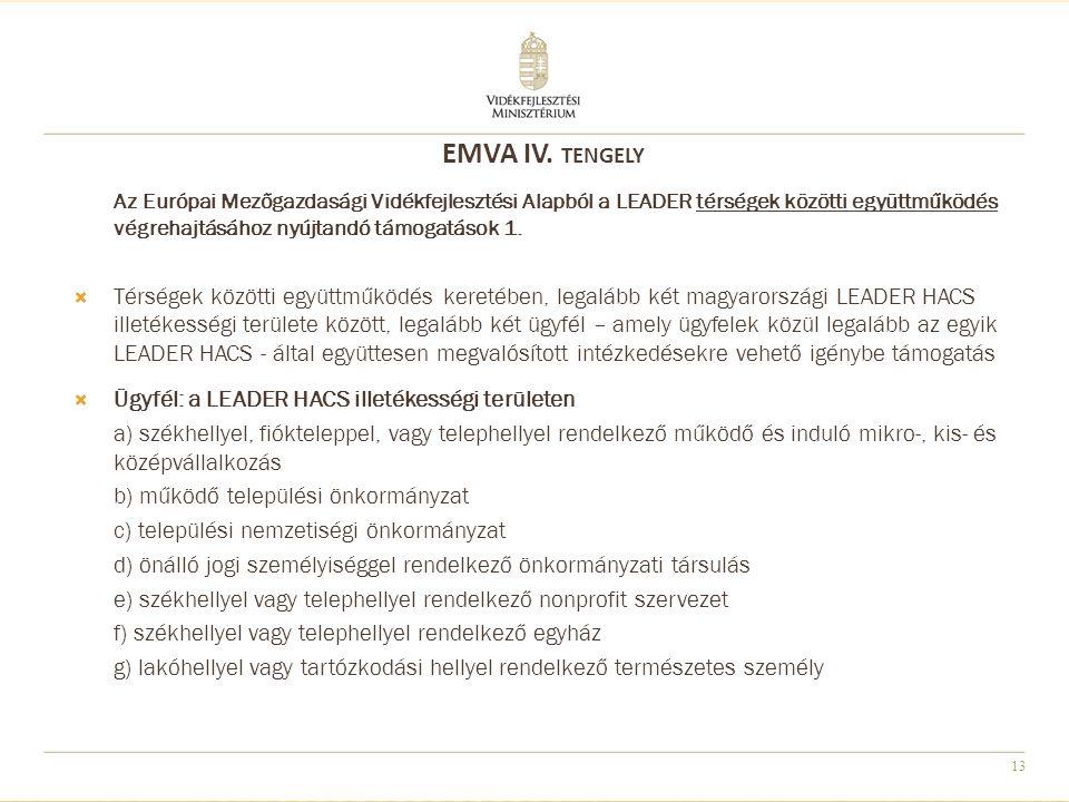 13 Az Európai Mezőgazdasági Vidékfejlesztési Alapból a LEADER térségek közötti együttműködés végrehajtásához nyújtandó támogatások 1.