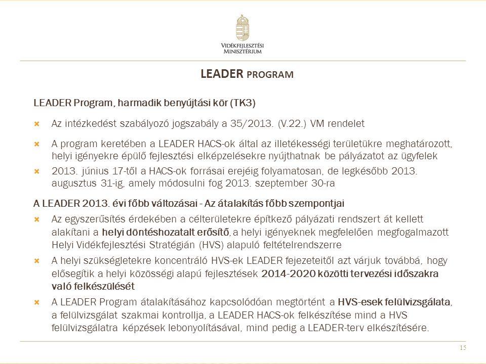 15 LEADER Program, harmadik benyújtási kör (TK3)  Az intézkedést szabályozó jogszabály a 35/2013.