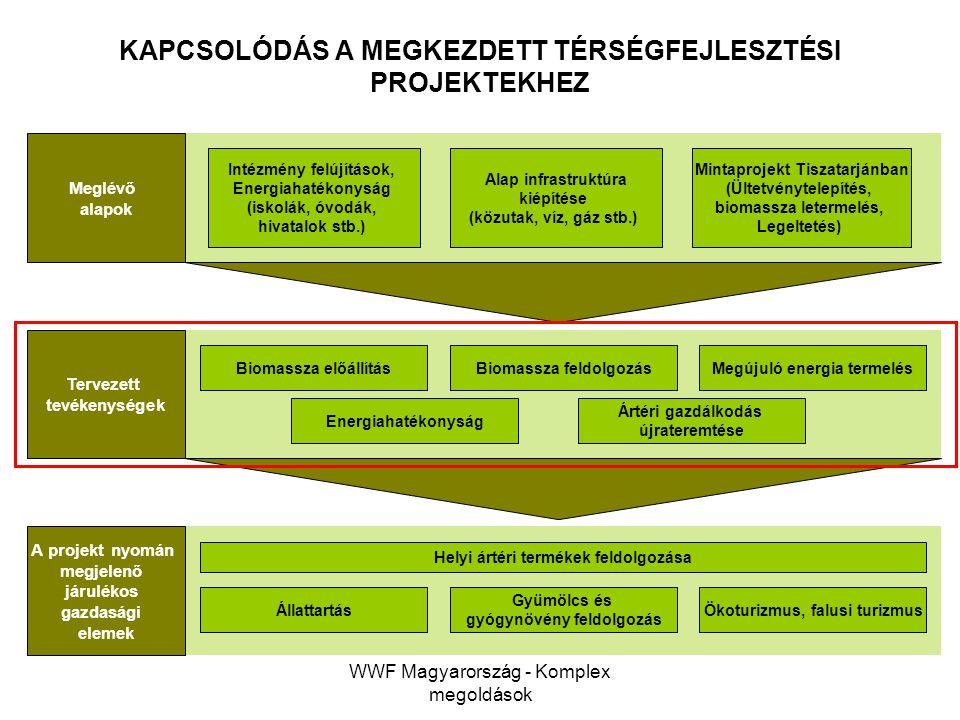 WWF Magyarország - Komplex megoldások KAPCSOLÓDÁS A MEGKEZDETT TÉRSÉGFEJLESZTÉSI PROJEKTEKHEZ Meglévő alapok Tervezett tevékenységek A projekt nyomán