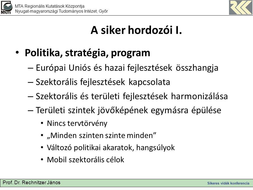 Prof. Dr. Rechnitzer János Sikeres vidék konferencia A siker hordozói I.