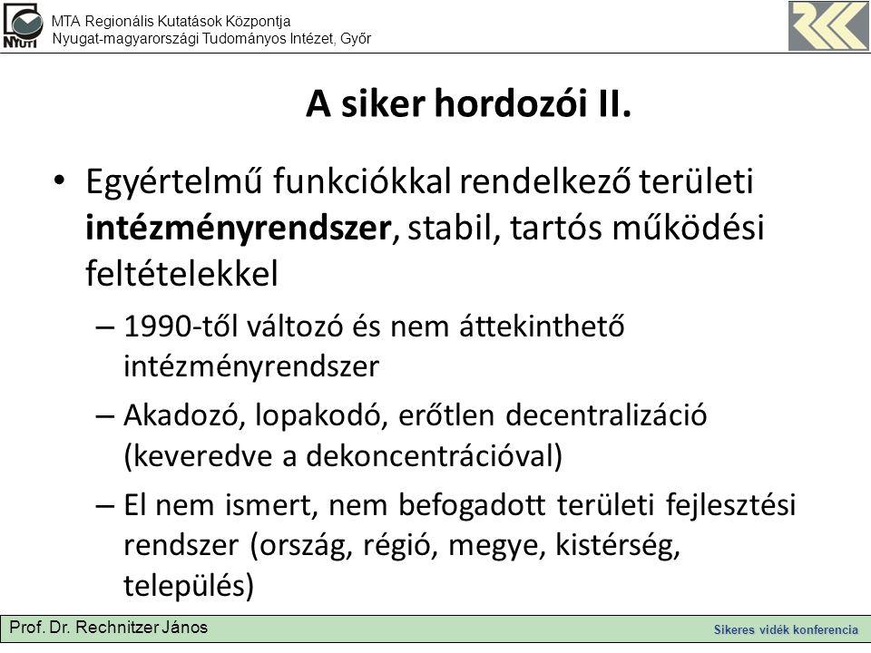 Prof. Dr. Rechnitzer János Sikeres vidék konferencia A siker hordozói II.