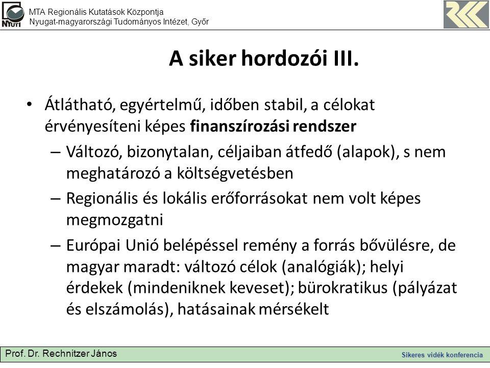 Prof. Dr. Rechnitzer János Sikeres vidék konferencia A siker hordozói III.
