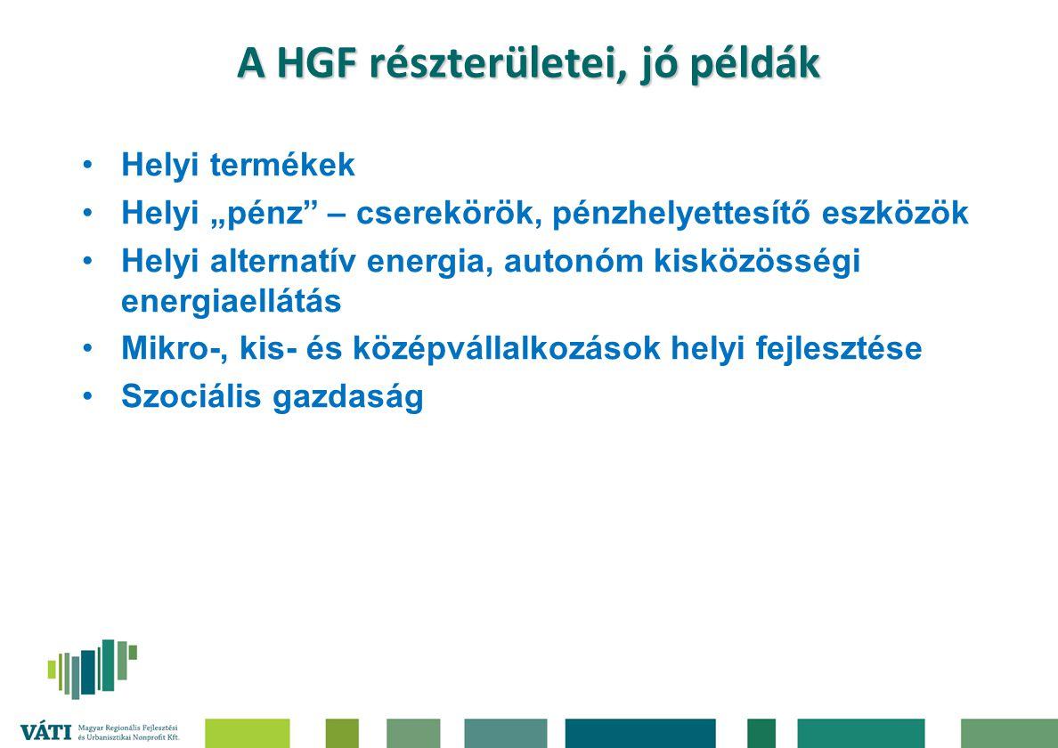 """A HGF részterületei, jó példák Helyi termékek Helyi """"pénz"""" – cserekörök, pénzhelyettesítő eszközök Helyi alternatív energia, autonóm kisközösségi ener"""