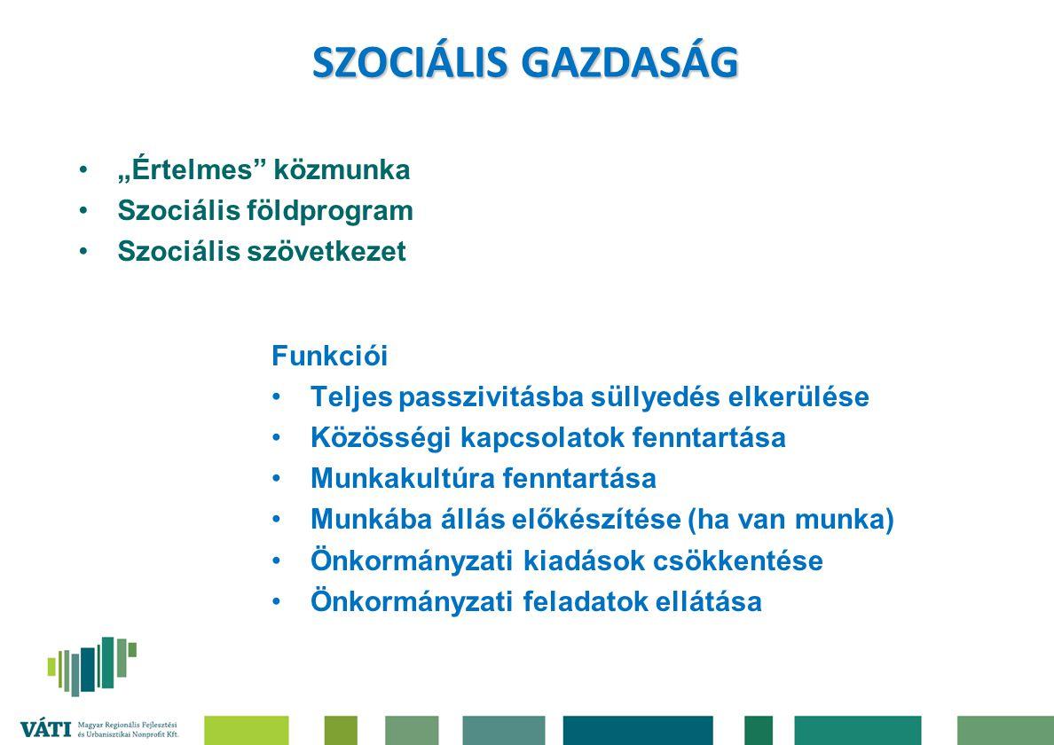 """SZOCIÁLIS GAZDASÁG """"Értelmes"""" közmunka Szociális földprogram Szociális szövetkezet Funkciói Teljes passzivitásba süllyedés elkerülése Közösségi kapcso"""