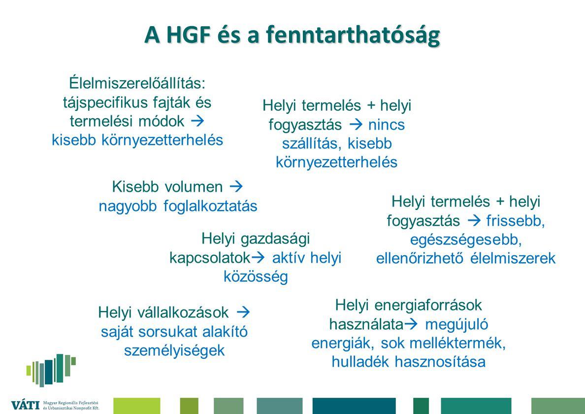 A HGF és a fenntarthatóság Élelmiszerelőállítás: tájspecifikus fajták és termelési módok  kisebb környezetterhelés Kisebb volumen  nagyobb foglalkoz