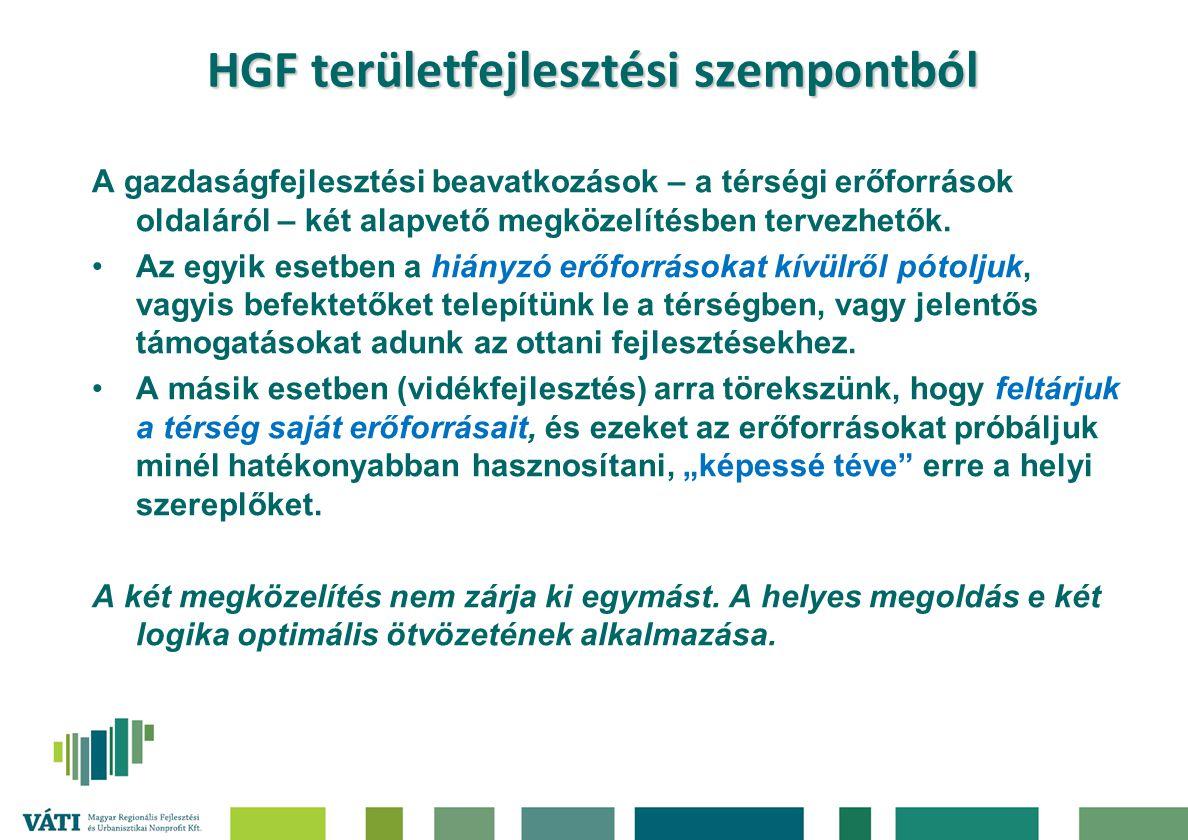HGF területfejlesztési szempontból A gazdaságfejlesztési beavatkozások – a térségi erőforrások oldaláról – két alapvető megközelítésben tervezhetők. A