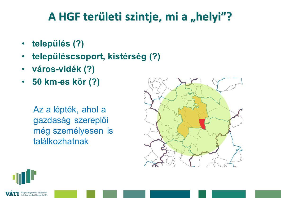 """A HGF területi szintje, mi a """"helyi""""? település (?) településcsoport, kistérség (?) város-vidék (?) 50 km-es kör (?) Az a lépték, ahol a gazdaság szer"""