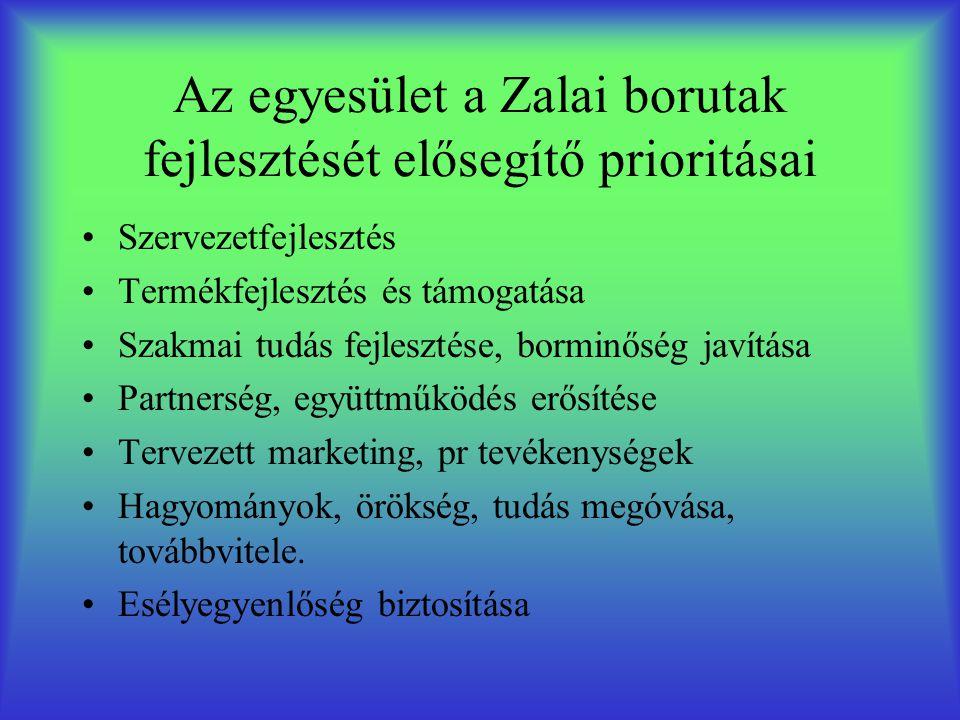 Az egyesület a Zalai borutak fejlesztését elősegítő prioritásai Szervezetfejlesztés Termékfejlesztés és támogatása Szakmai tudás fejlesztése, borminőség javítása Partnerség, együttműködés erősítése Tervezett marketing, pr tevékenységek Hagyományok, örökség, tudás megóvása, továbbvitele.