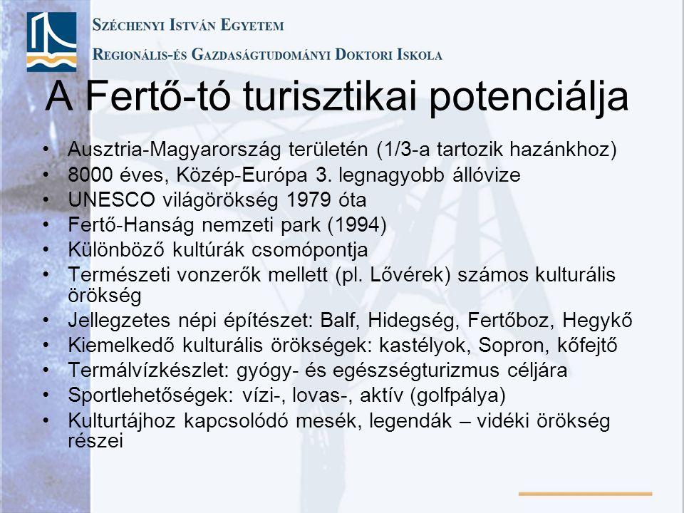 A Fertő-tó turisztikai potenciálja Ausztria-Magyarország területén (1/3-a tartozik hazánkhoz) 8000 éves, Közép-Európa 3. legnagyobb állóvize UNESCO vi