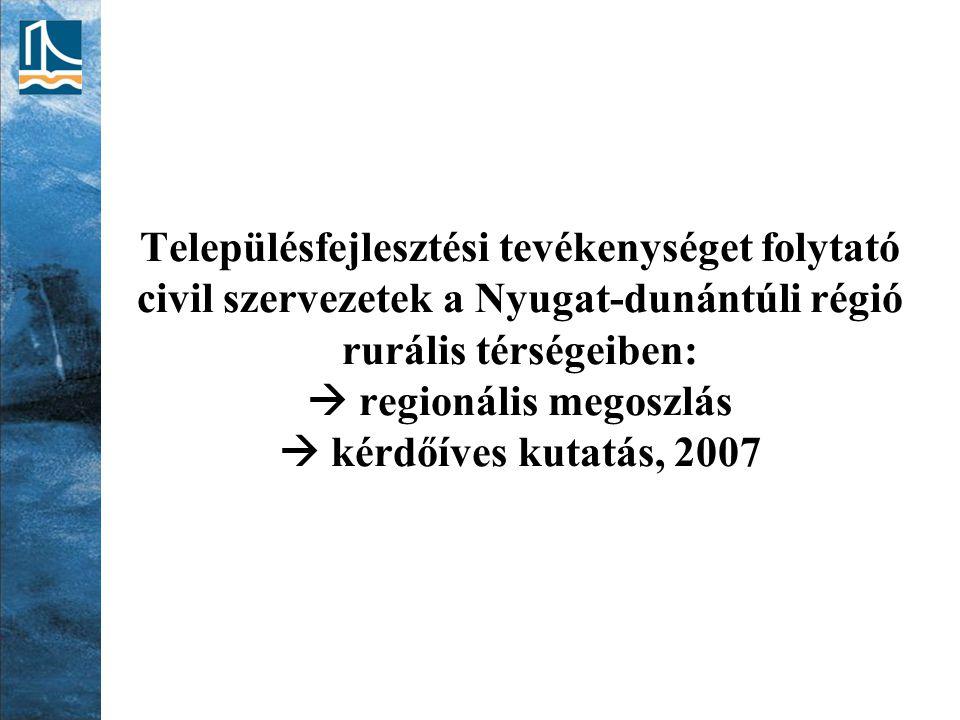 Településfejlesztési tevékenységet folytató civil szervezetek a Nyugat-dunántúli régió rurális térségeiben:  regionális megoszlás  kérdőíves kutatás, 2007