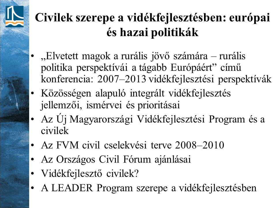 """Civilek szerepe a vidékfejlesztésben: európai és hazai politikák """"Elvetett magok a rurális jövő számára – rurális politika perspektívái a tágabb Európáért című konferencia: 2007–2013 vidékfejlesztési perspektívák Közösségen alapuló integrált vidékfejlesztés jellemzői, ismérvei és prioritásai Az Új Magyarországi Vidékfejlesztési Program és a civilek Az FVM civil cselekvési terve 2008–2010 Az Országos Civil Fórum ajánlásai Vidékfejlesztő civilek."""