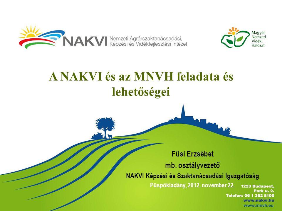 A NAKVI és az MNVH feladata és lehetőségei Füsi Erzsébet mb. osztályvezető NAKVI Képzési és Szaktanácsadási Igazgatóság Püspökladány, 2012. november 2