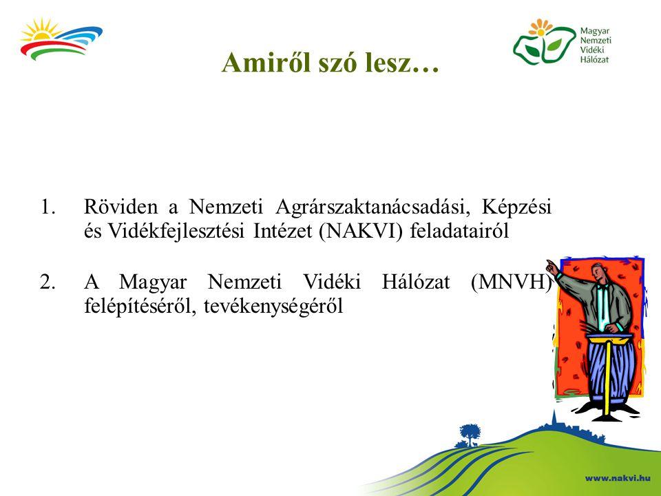 Amiről szó lesz… 1.Röviden a Nemzeti Agrárszaktanácsadási, Képzési és Vidékfejlesztési Intézet (NAKVI) feladatairól 2.A Magyar Nemzeti Vidéki Hálózat