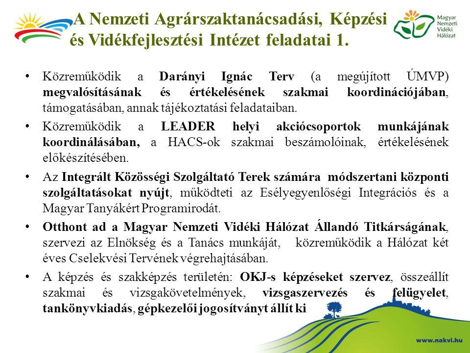 A Nemzeti Agrárszaktanácsadási, Képzési és Vidékfejlesztési Intézet feladatai 1. Közreműködik a Darányi Ignác Terv (a megújított ÚMVP) megvalósításána