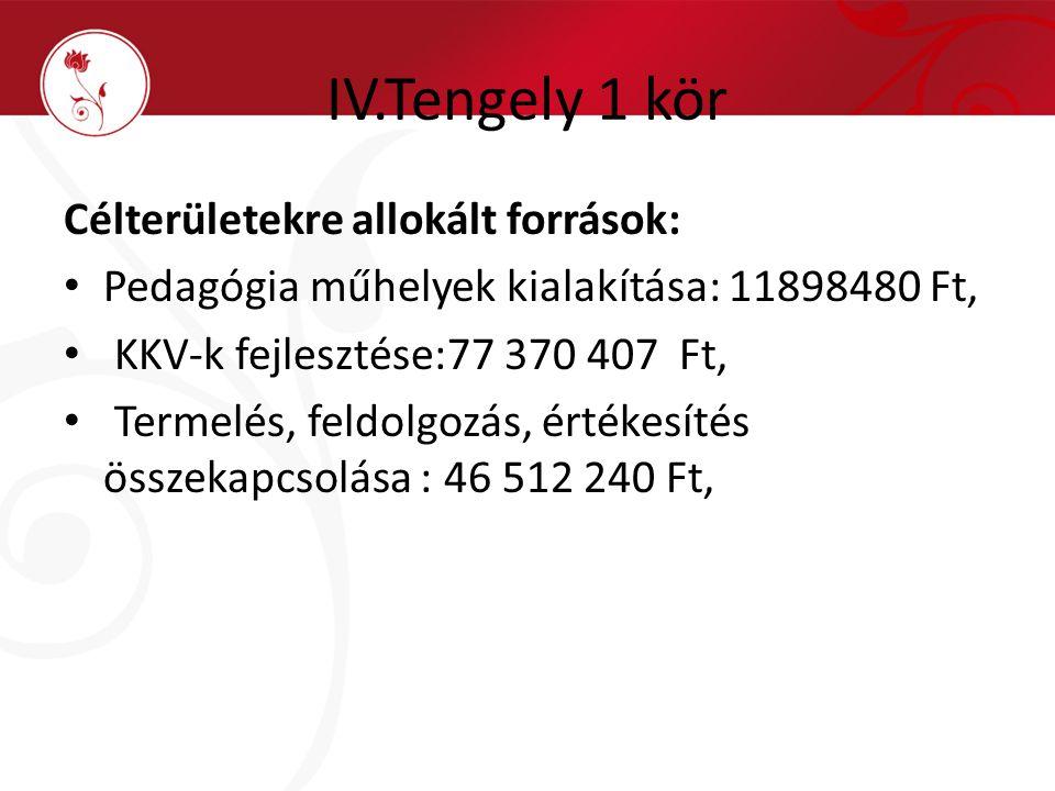IV.Tengely 1 kör Célterületekre allokált források: Pedagógia műhelyek kialakítása: 11898480 Ft, KKV-k fejlesztése:77 370 407 Ft, Termelés, feldolgozás