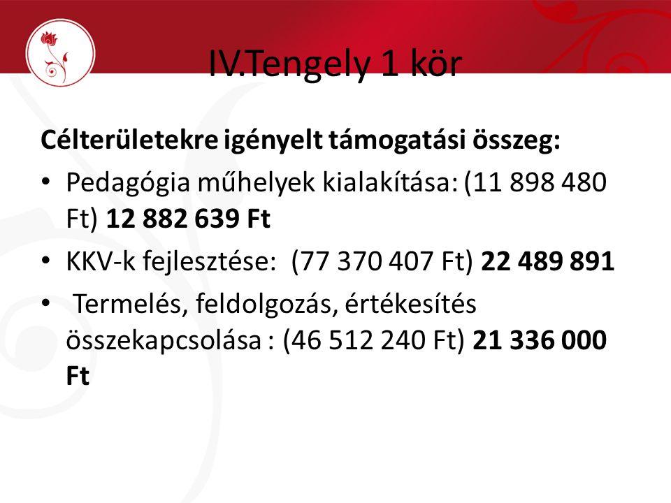 IV.Tengely 1 kör Célterületekre igényelt támogatási összeg: Pedagógia műhelyek kialakítása: (11 898 480 Ft) 12 882 639 Ft KKV-k fejlesztése: (77 370 4