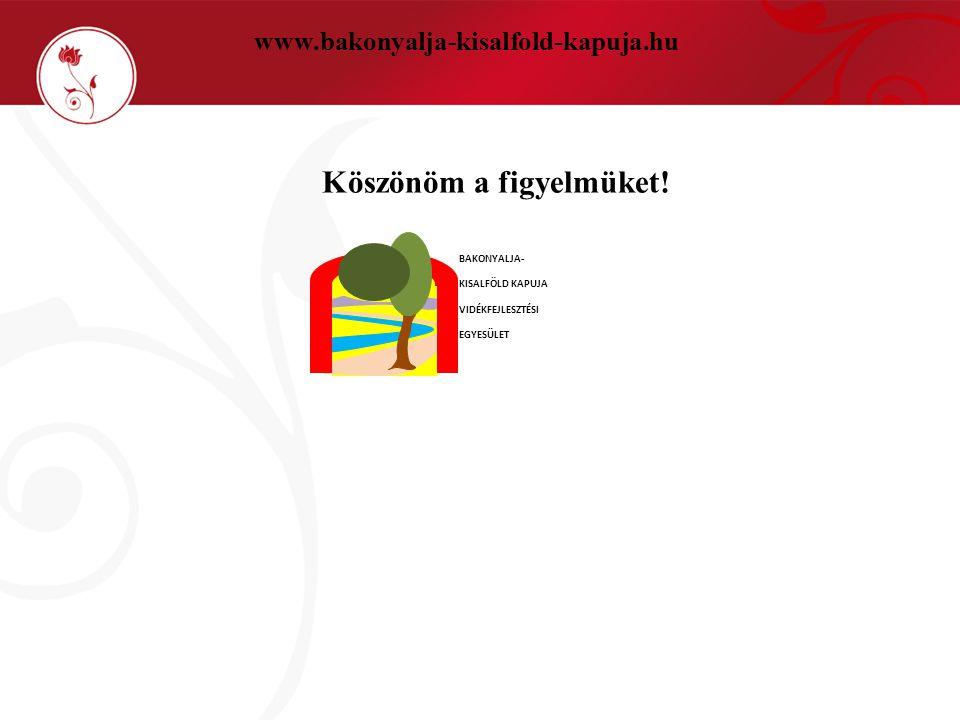 www.bakonyalja-kisalfold-kapuja.hu Köszönöm a figyelmüket! BAKONYALJA - KISALFÖLD KAPUJA VIDÉKFEJLESZTÉSI EGYESÜLET