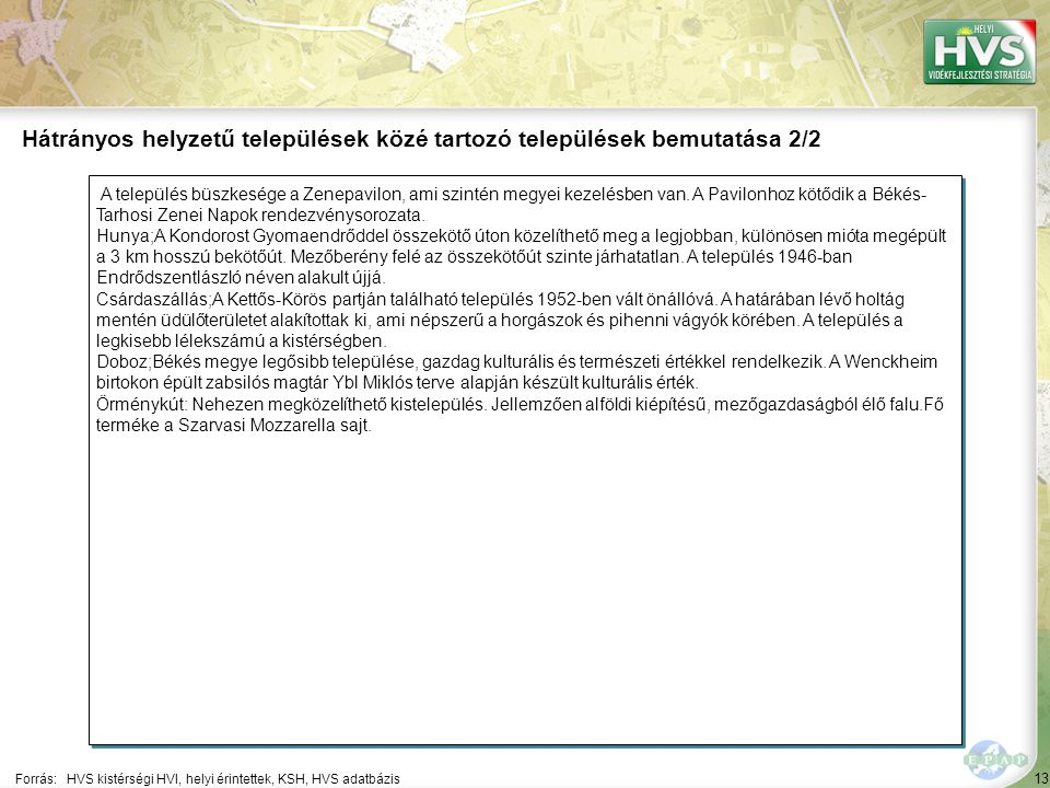 13 A település büszkesége a Zenepavilon, ami szintén megyei kezelésben van.