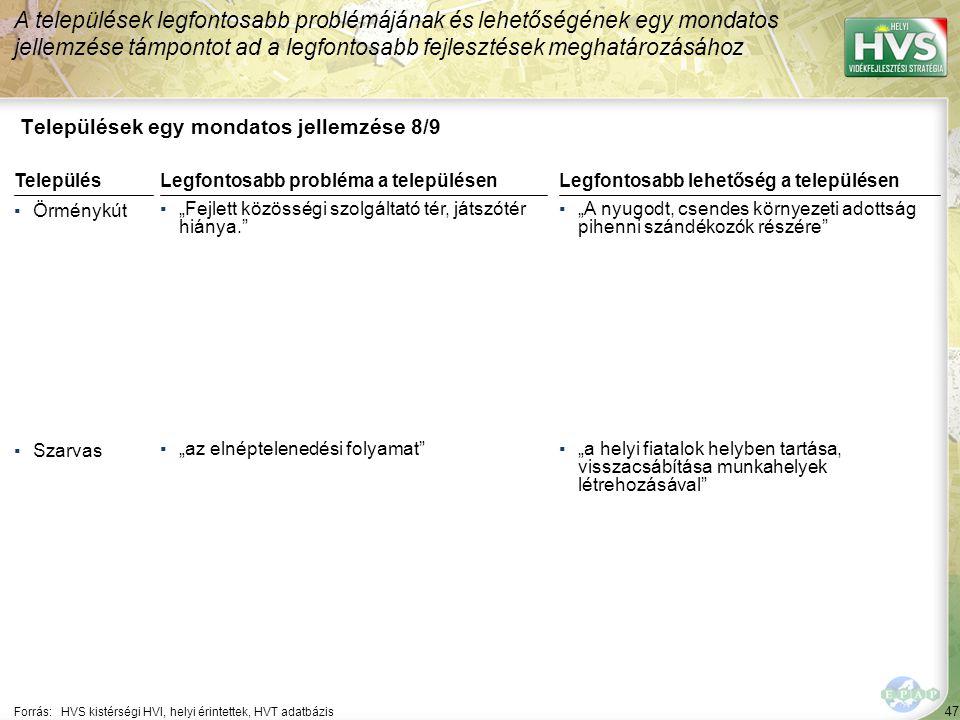 47 Települések egy mondatos jellemzése 8/9 A települések legfontosabb problémájának és lehetőségének egy mondatos jellemzése támpontot ad a legfontosa