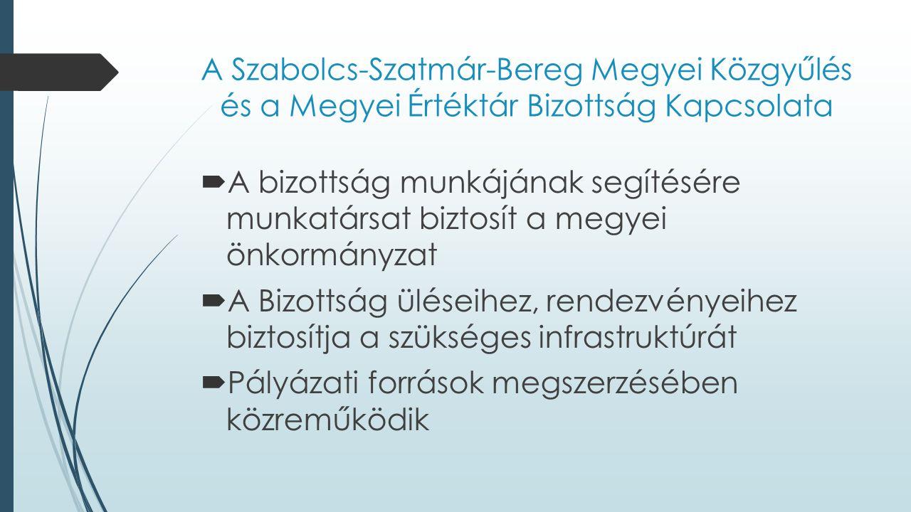 A Szabolcs-Szatmár-Bereg Megyei Közgyűlés és a Megyei Értéktár Bizottság Kapcsolata  A bizottság munkájának segítésére munkatársat biztosít a megyei