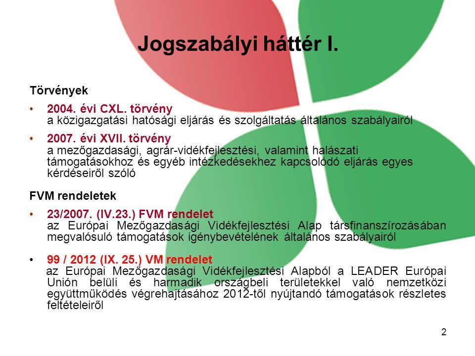 Jogszabályi háttér I. Törvények 2004. évi CXL.