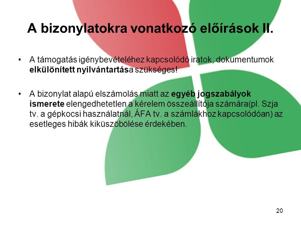 A bizonylatokra vonatkozó előírások II.