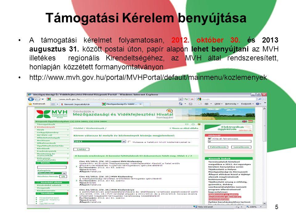 Támogatási Kérelem benyújtása A támogatási kérelmet folyamatosan, 2012.