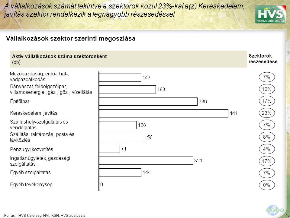 16 Forrás:HVS kistérségi HVI, KSH, HVS adatbázis Vállalkozások szektor szerinti megoszlása A vállalkozások számát tekintve a szektorok közül 23%-kal a(z) Kereskedelem, javítás szektor rendelkezik a legnagyobb részesedéssel Aktív vállalkozások száma szektoronként (db) Mezőgazdaság, erdő-, hal-, vadgazdálkodás Bányászat, feldolgozóipar, villamosenergia-, gáz-, gőz-, vízellátás Építőipar Kereskedelem, javítás Szálláshely-szolgáltatás és vendéglátás Szállítás, raktározás, posta és távközlés Pénzügyi közvetítés Ingatlanügyletek, gazdasági szolgáltatás Egyéb szolgáltatás Egyéb tevékenység Szektorok részesedése 7% 10% 23% 7% 8% 17% 7% 0% 17% 4%