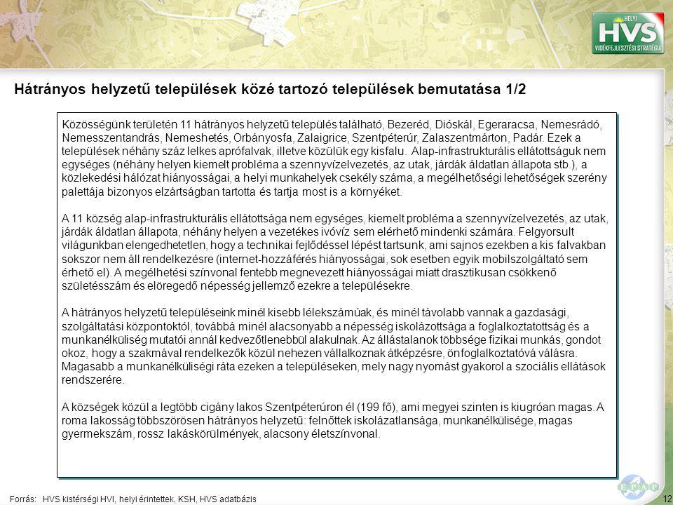12 Közösségünk területén 11 hátrányos helyzetű település található, Bezeréd, Dióskál, Egeraracsa, Nemesrádó, Nemesszentandrás, Nemeshetés, Orbányosfa, Zalaigrice, Szentpéterúr, Zalaszentmárton, Padár.