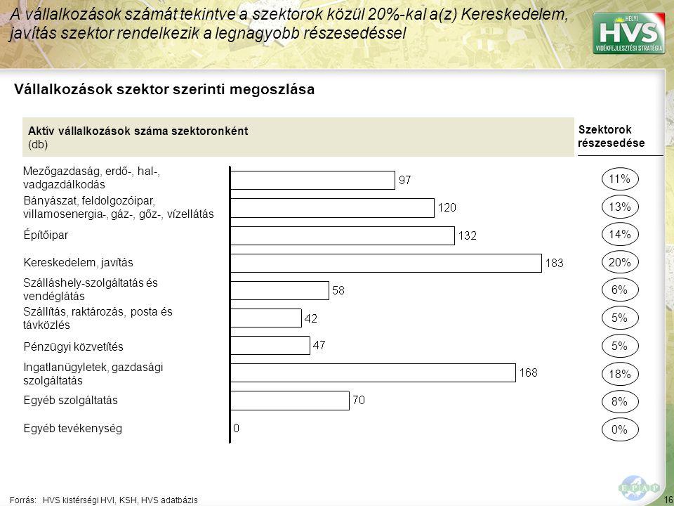 16 Forrás:HVS kistérségi HVI, KSH, HVS adatbázis Vállalkozások szektor szerinti megoszlása A vállalkozások számát tekintve a szektorok közül 20%-kal a(z) Kereskedelem, javítás szektor rendelkezik a legnagyobb részesedéssel Aktív vállalkozások száma szektoronként (db) Mezőgazdaság, erdő-, hal-, vadgazdálkodás Bányászat, feldolgozóipar, villamosenergia-, gáz-, gőz-, vízellátás Építőipar Kereskedelem, javítás Szálláshely-szolgáltatás és vendéglátás Szállítás, raktározás, posta és távközlés Pénzügyi közvetítés Ingatlanügyletek, gazdasági szolgáltatás Egyéb szolgáltatás Egyéb tevékenység Szektorok részesedése 11% 13% 20% 6% 5% 18% 8% 0% 14% 5%