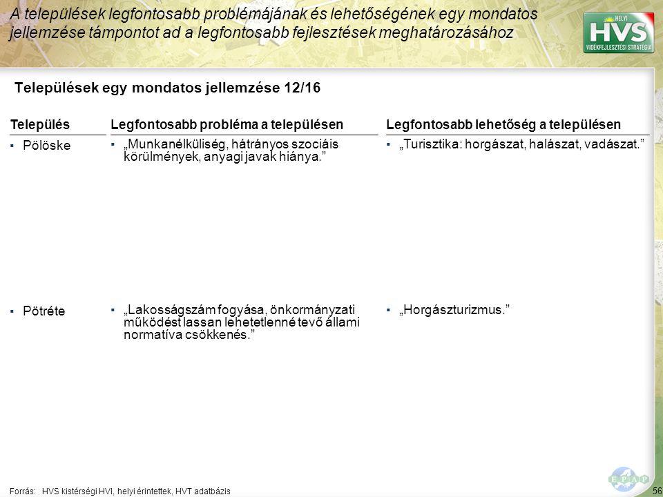 """56 Települések egy mondatos jellemzése 12/16 A települések legfontosabb problémájának és lehetőségének egy mondatos jellemzése támpontot ad a legfontosabb fejlesztések meghatározásához Forrás:HVS kistérségi HVI, helyi érintettek, HVT adatbázis TelepülésLegfontosabb probléma a településen ▪Pölöske ▪""""Munkanélküliség, hátrányos szociáis körülmények, anyagi javak hiánya. ▪Pötréte ▪""""Lakosságszám fogyása, önkormányzati működést lassan lehetetlenné tevő állami normatíva csökkenés. Legfontosabb lehetőség a településen ▪""""Turisztika: horgászat, halászat, vadászat. ▪""""Horgászturizmus."""