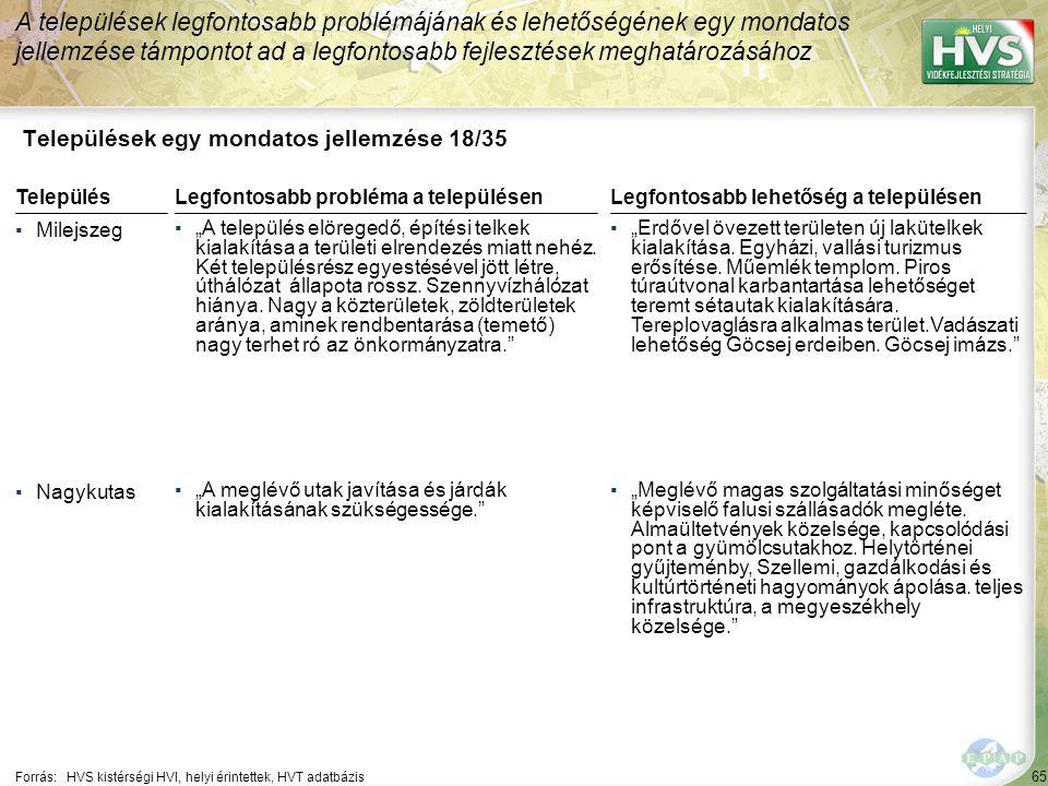 65 Települések egy mondatos jellemzése 18/35 A települések legfontosabb problémájának és lehetőségének egy mondatos jellemzése támpontot ad a legfonto