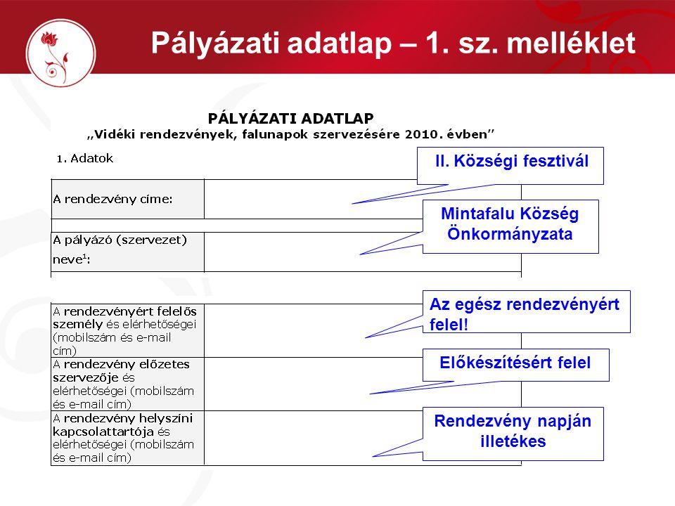 Pályázati adatlap – 1. sz. melléklet II. Községi fesztivál Mintafalu Község Önkormányzata Az egész rendezvényért felel! Előkészítésért felel Rendezvén