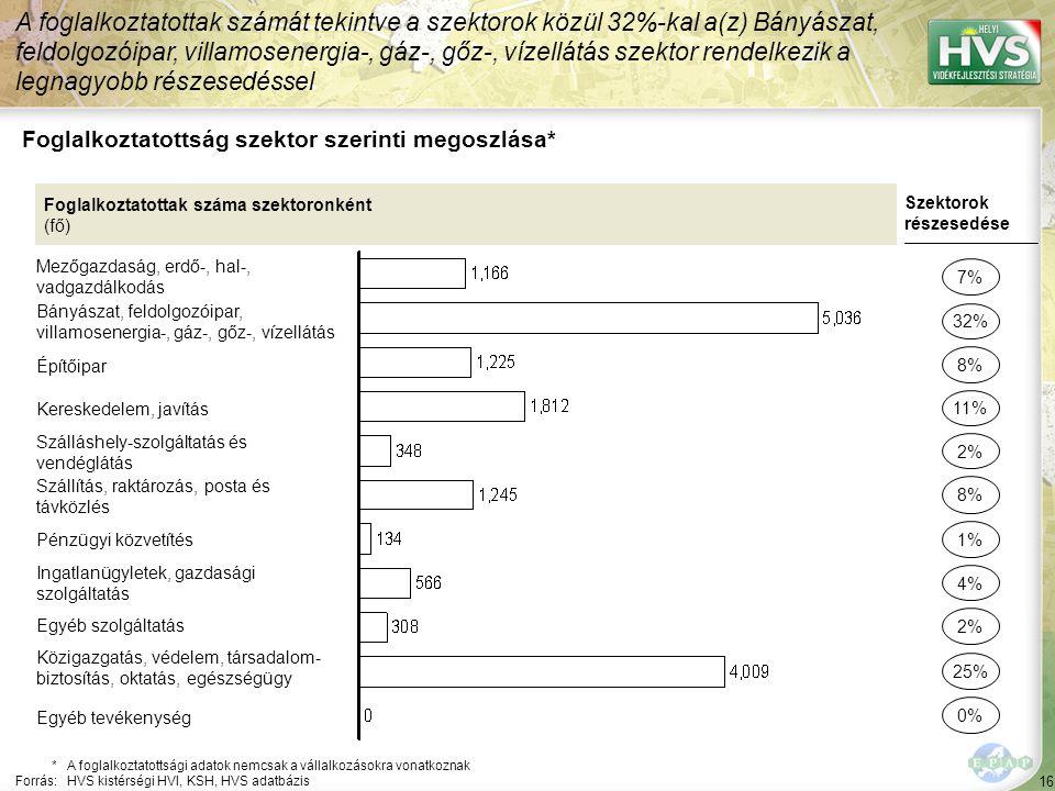 16 Foglalkoztatottság szektor szerinti megoszlása* A foglalkoztatottak számát tekintve a szektorok közül 32%-kal a(z) Bányászat, feldolgozóipar, villamosenergia-, gáz-, gőz-, vízellátás szektor rendelkezik a legnagyobb részesedéssel *A foglalkoztatottsági adatok nemcsak a vállalkozásokra vonatkoznak Forrás:HVS kistérségi HVI, KSH, HVS adatbázis Foglalkoztatottak száma szektoronként (fő) Mezőgazdaság, erdő-, hal-, vadgazdálkodás Bányászat, feldolgozóipar, villamosenergia-, gáz-, gőz-, vízellátás Építőipar Kereskedelem, javítás Szálláshely-szolgáltatás és vendéglátás Szállítás, raktározás, posta és távközlés Pénzügyi közvetítés Ingatlanügyletek, gazdasági szolgáltatás Egyéb szolgáltatás Közigazgatás, védelem, társadalom- biztosítás, oktatás, egészségügy Szektorok részesedése 7% 32% 11% 2% 8% 4% 2% 25% 8% 1% Egyéb tevékenység 0%