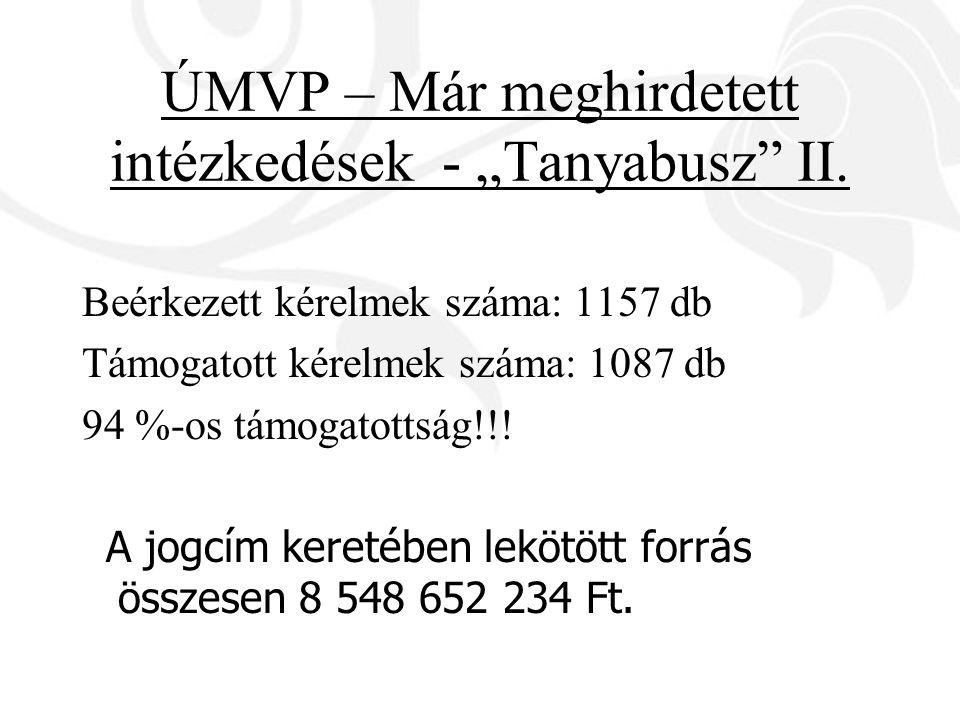 """ÚMVP – Már meghirdetett intézkedések - """"Tanyabusz"""" II. Beérkezett kérelmek száma: 1157 db Támogatott kérelmek száma: 1087 db 94 %-os támogatottság!!!"""