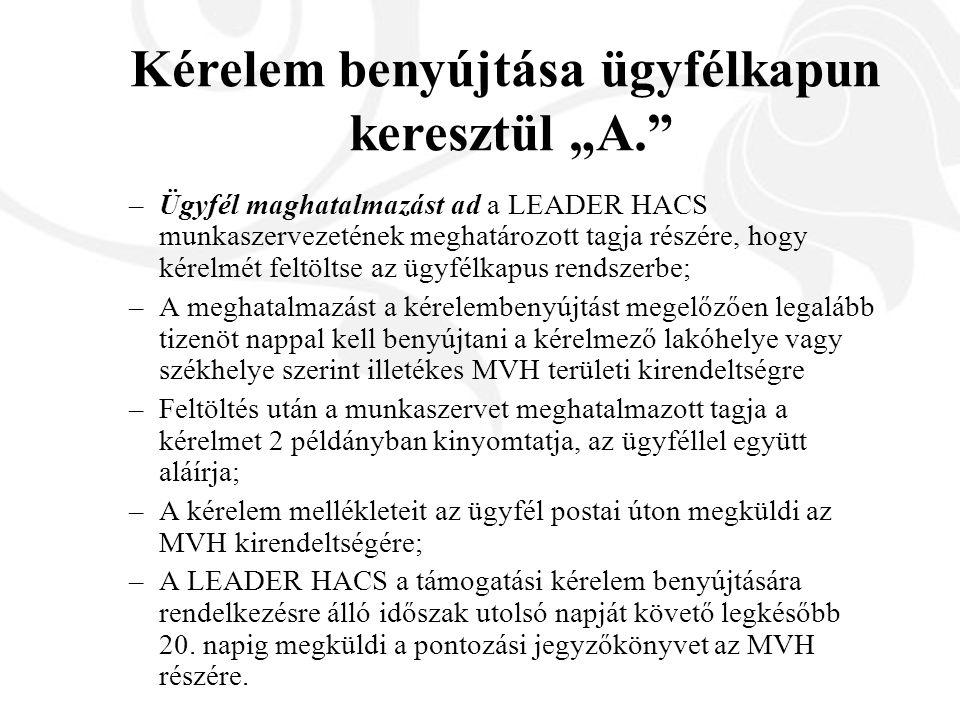 –Ügyfél maghatalmazást ad a LEADER HACS munkaszervezetének meghatározott tagja részére, hogy kérelmét feltöltse az ügyfélkapus rendszerbe; –A meghatalmazást a kérelembenyújtást megelőzően legalább tizenöt nappal kell benyújtani a kérelmező lakóhelye vagy székhelye szerint illetékes MVH területi kirendeltségre –Feltöltés után a munkaszervet meghatalmazott tagja a kérelmet 2 példányban kinyomtatja, az ügyféllel együtt aláírja; –A kérelem mellékleteit az ügyfél postai úton megküldi az MVH kirendeltségére; –A LEADER HACS a támogatási kérelem benyújtására rendelkezésre álló időszak utolsó napját követő legkésőbb 20.