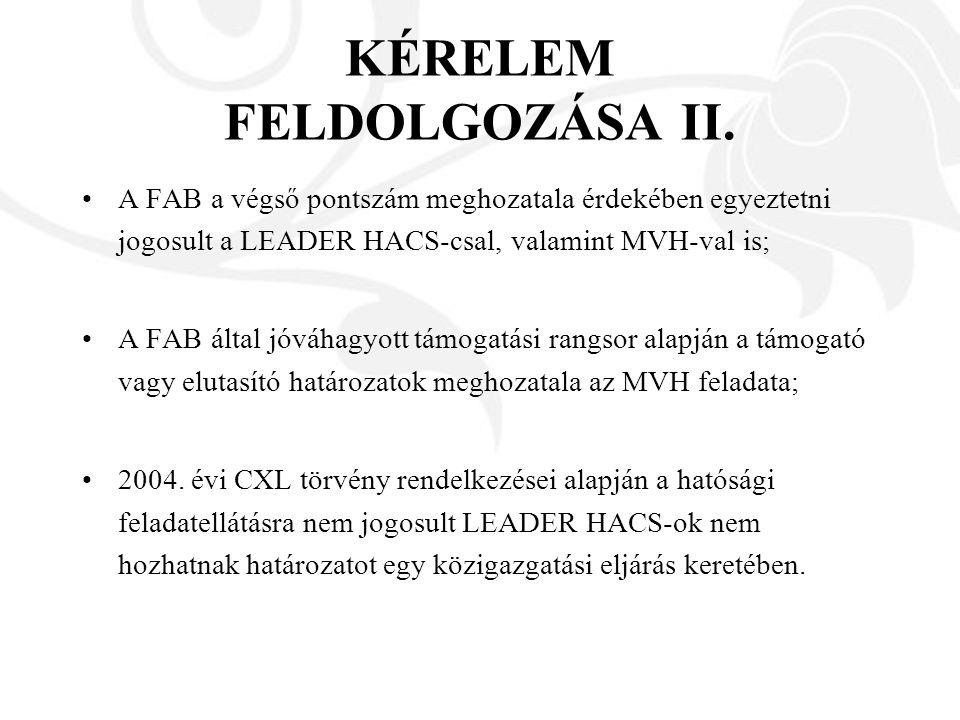KÉRELEM FELDOLGOZÁSA II. A FAB a végső pontszám meghozatala érdekében egyeztetni jogosult a LEADER HACS-csal, valamint MVH-val is; A FAB által jóváhag