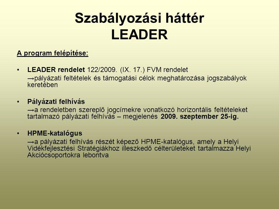 Szabályozási háttér LEADER A program felépítése: LEADER rendelet 122/2009. (IX. 17.) FVM rendelet →pályázati feltételek és támogatási célok meghatároz