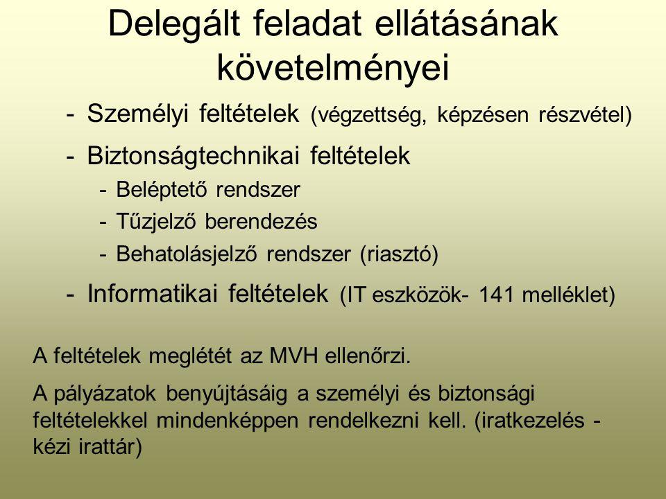 Delegált feladat ellátásának követelményei -Személyi feltételek (végzettség, képzésen részvétel) -Biztonságtechnikai feltételek -Beléptető rendszer -T