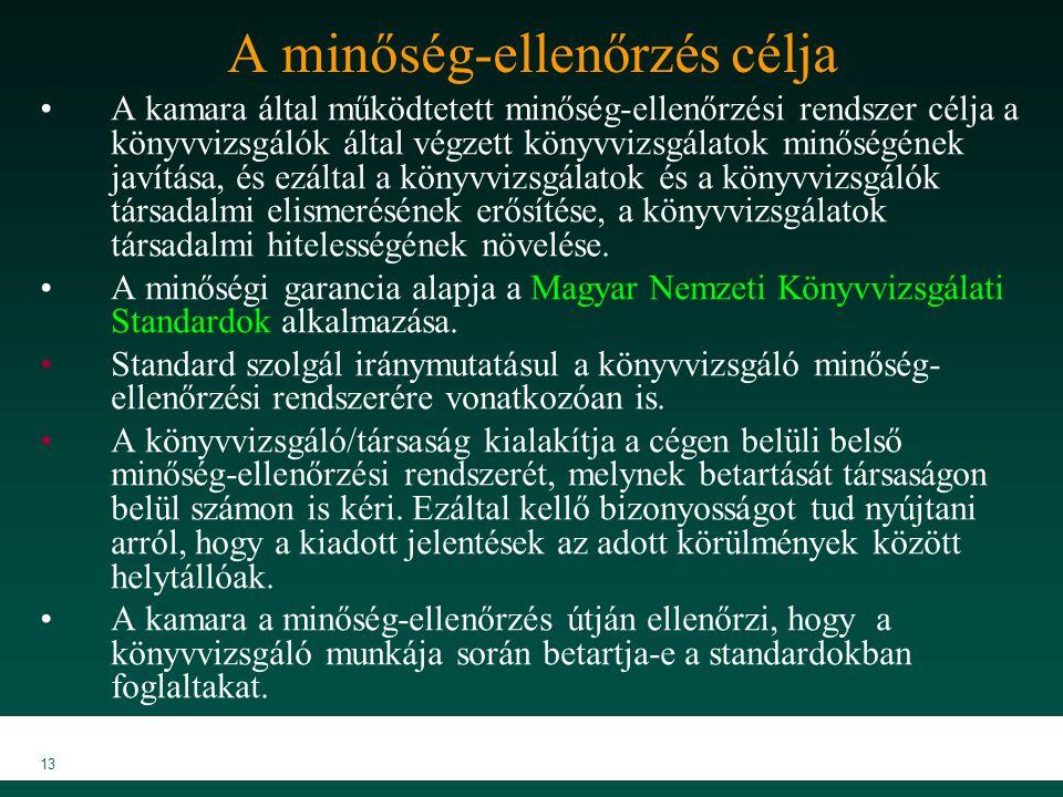MKVK MEB 2007 13 A minőség-ellenőrzés célja A kamara által működtetett minőség-ellenőrzési rendszer célja a könyvvizsgálók által végzett könyvvizsgála